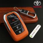 กรอบ-เคส ใส่กุญแจรีโมทรถยนต์ All New Toyota Fortuner TRD/Camry 2015-18 Smart Key 4 ปุ่ม โลโก้_เงิน สีส้ม