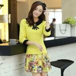 ( Size : XL ) ชุดเดรสทำงาน แนวสวยหวานน่ารัก ชุดแซกสั้นสีเหลือง คอปก แขนสี่ส่วน เอวเข้ารูป กระโปรงลายดอกไม้