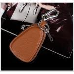 กระเป๋าซองหนังแท้ ใส่กุญแจรีโมทรถยนต์ สีสันสดใส สไตล์เกาหลี สีน้ำตาล