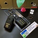ซองหนังแท้ ใส่กุญแจรีโมท รุ่นด้ายสีหนังนิ่ม HONDA HR-V,CR-V,BR-V,JAZZ Smart Key 2 ปุ่ม สีทอง
