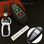 ซองหนังแท้ ใส่กุญแจรีโมทรถยนต์ รุ่นด้ายสีเรืองแสง ใหม่ All New Suzuki Swift,Ciaz สีดำ