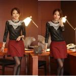 ( size : XL ) เสื้อทำงาน ผ้าลูกไม้ สีดำ คอแต่งระบายด้วยลูกไม้สีขาว แขนยาว เป็นเสื้อทำงานไสต์เรียบหรู