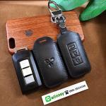ซองหนังแท้ ใส่กุญแจรีโมทรถยนต์ หนังลาตินั่มคอร์ Mitsubishi Mirage,Attrage,Triton,Pajero Smart Key 2,3 ปุ่ม สีดำ