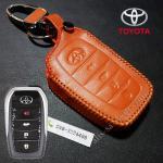 ซองหนังแท้ ใส่กุญแจรีโมทรถยนต์ หนังลาตินั่มคอร์ All New Toyota Fortuner/Camry Hybrid 2015-17 รุ่น 4 ปุ่ม สีส้ม