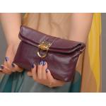 กระเป๋าสตางค์/หนังแท้ กระเป่าคลัทช์ สีม่วง