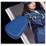 กระเป๋าซองหนังแท้ ใส่กุญแจรีโมทรถยนต์ สีสันสดใส สไตล์เกาหลี สีน้ำเงิน