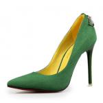 รองเท้าส้นสูง ส้นแหลม หัวแหลม สไตล์เกาหลี หนังกำมะหยี่ สีเขียว ไซส์ 35-39 ( Pre )