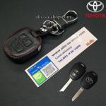 ซองหนังแท้ ใส่กุญแจรีโมทรถยนต์ Toyota New Vios,Yaris โลโก้เงิน รุ่น 2 ปุ่ม สีดำ