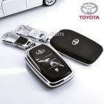 กรอบ-เคส ใส่กุญแจรีโมทรถยนต์ Toyota Hilux Revo Smart 3 ปุ่ม โลโก้_เงิน สีดำ