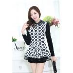 ( Size : M ) เสื้อทำงานสวยๆแฟชั่นเกาหลี เสื้อเชิ้ตสีขาว ลายดอกไม้ แขนยาว ปลายเสื้อแต่งระบาย ผ้าโพลีเอสเตอร์