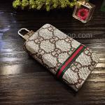 กระเป๋าซองหนัง ใส่กุญแจรีโมทรถยนต์ พิมพ์ลาย โลโก้ Gucci สีน้ำตาล