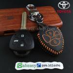 ซองหนังแท้ ใส่กุญแจรีโมท รุ่นด้ายสี พิมพ์โลโก้ Toyota Altis,Hilux Vigo,Fortuner,Camry,Innova สีส้ม