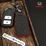 ซองหนังแท้ ใส่กุญแจรีโมทรถยนต์ รุ่นด้ายสีทรูโทน HONDA HR-V,CR-V,BR-V,JAZZ Smart Key 2 ปุ่ม สีแดง