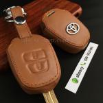 ซองหนังแท้ ใส่กุญแจรีโมทรถยนต์ รุ่นดอกกุญแจโลโก้เหล็ก Toyota New Vios,Yaris 2 ปุ่ม สีน้ำตาล