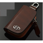 กระเป๋าซองหนังแท้ ใส่กุญแจรีโมทรถยนต์ โลโก้ Hyundai สีน้ำตาล