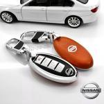 New กรอบ_เคส ใส่กุญแจรีโมทรถยนต์ Teana,Almera,Sylphy,Xtrail Smart Key 4 key สีส้ม