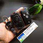 ซองหนังแท้ ใส่กุญแจรีโมทรถยนต์ รุ่นหนังนิ่ม Honda Civic FB,Accord G8 รุ่น พับข้าง 3 ปุ่ม สีดำ
