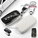กรอบ-เคส ใส่กุญแจรีโมทรถยนต์ Toyota Hilux Revo Smart 3 ปุ่ม โลโก้_เงิน สีขาว