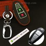 ซองหนังแท้ ใส่กุญแจรีโมทรถยนต์ รุ่นด้ายสีเรืองแสง ใหม่ All New Suzuki Swift,Ciaz สีส้ม