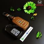 ซองหนังแท้ ใส่กุญแจรีโมทรถยนต์ รุ่นเรืองแสง Honda Accord All New City Smart Key 3 ปุ่ม สีน้ำตาล