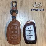 ซองหนังแท้ ใส่กุญแจรีโมทรถยนต์ รุ่นโลโก้เหล็ก Hyundai Elantra 2,3 ปุ่ม พับข้าง สีน้ำตาล