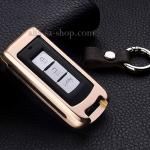 กรอบ-เคส ใส่กุญแจรีโมทรถยนต์ รุ่นอลูมิเนียม Mitsubishi Mirage,Attrage,Triton,Pajero Smart Key 2,3 ปุ่ม สีทอง