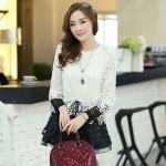 ( Size : L ) เสื้อแฟชั่นเกาหลีน่ารักๆ เสื้อแขนยาวลูกไม้ สีขาว ขาว คอกลม ปลายเสื้อแต่งด้วยผ้าแก้ว
