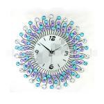 นาฬิกาแขวนผนัง - ประดับด้วยคริสตัล สวยหรู สไตล์ยุโรป สี ฟ้า/เงิน/ม่วง (Pre)