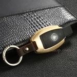 กรอบ-เคส ใส่กุญแจรีโมทรถยนต์ รุ่นอลูมิเนียม ตูดตัด Mercedes Benz Smart Key สีทอง