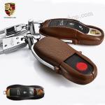 กรอบ-เคส ใส่กุญแจรีโมทรถยนต์ Porsche แบบใหม่ สีน้ำตาล