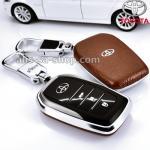 กรอบ-เคส ใส่กุญแจรีโมทรถยนต์ Toyota Hilux Revo Smart 3 ปุ่ม โลโก้_เงิน สีน้ำตาล