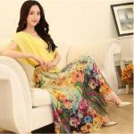 ( size M ) ชุดเดรสยาวแฟชั่นเกาหลี ชุดเดรสน่ารัก ชุดเดรสยาว ชุดเดรสลายดอก ชุดเดรสยาวกระโปรงลายดอกไม้ สีเหลือง