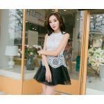 ( size L) ชุดเดรสแฟชั่นเกาหลี ชุดเดรสน่ารัก ชุดเดรสออกงาน ชุดเดรสสั้น เสื้อสีขาว แขนกุด เย็บติดกระโปรงสีดำ