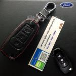 ซองหนังแท้ ใส่กุญแจรีโมทรถยนต์ All New Ford Ranger,Everest 2015-18 รุ่นพับข้าง สีดำ