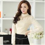 ( Size : L ) เสื้อทำงานแฟชั่นเกาหลี สีเบจ คอเต๋า แขนยาว ผ้าชีฟอง+ลูกไม้