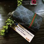 กระเป๋าซองหนัง ใส่กุญแจรีโมทรถยนต์ พิมพ์ลาย โลโก้ Gucci สี ฟ้า/ดำ