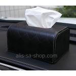 กล่องทิชชู้ หุ้มด้วยหนัง Hi-End อย่างดีคุณภาพเยี่ยม สำหรับใช้ตกแต่ภายในรถยนต์ สีดำ