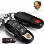 กรอบ-เคส ใส่กุญแจรีโมทรถยนต์ Porsche แบบใหม่ สีดำ