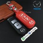 ซองหนังแท้ ใส่กุญแจรีโมทรถยนต์ รุ่นปุ่มขาว Mazda 2,3/CX-5 2018 Smart Key 3 ปุ่ม สีแดง