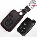ซองหนังแท้ ใส่กุญแจรีโมทรถยนต์ Toyota Prius,Camry Keyless รุ่น 3 ปุ่ม สีดำ