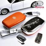 กรอบ-เคส ใส่กุญแจรีโมทรถยนต์ Toyota Hilux Revo Smart 3 ปุ่ม โลโก้_เงิน สีส้ม