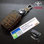 ซองหนังแท้ ใส่กุญแจรีโมทรถยนต์ Toyota Hilux Revo Smat Key 3 ปุ่ม รุ่น ด้ายสีส้ม