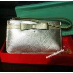 กระเป๋าสตางค์กระเป๋าคลัทช์ Kate Spade มินิ โบทอง/ตัวกระเป๋าสีเงิน (Pre)