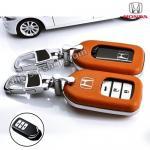 กรอบ-เคส ใส่กุญแจรีโมทรถยนต์ Honda Accord All New City,Hatchback Smart Key 3 ปุ่ม สีส้ม