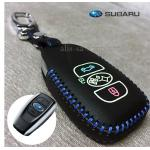 ซองหนังแท้ ใส่กุญแจรีโมทรถยนต์ รุ่นเรืองแสงด้ายสี Subaru XV,Forester,Brz,Outback 2015-18 Smart Key สีน้ำเงิน