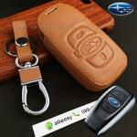 ซองหนังแท้ ใส่กุญแจรีโมทรถยนต์ รุ่นโลโก้-ฟ้่า Subaru XV,Forester,Brz,Outback 2015-18 Smart Key สีน้ำตาล
