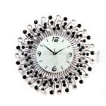 นาฬิกาแขวนผนัง - ประดับด้วยคริสตัล สวยหรู สไตล์ยุโรป สี ดำ/เงิน (Pre)