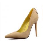 รองเท้าส้นสูง ส้นแหลม หัวแหลม สไตล์เกาหลี หนังกำมะหยี่ สีครีม ไซส์ 35-39 ( Pre )
