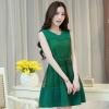 ชุดเดรสสั้นสีเขียวสไตล์เรียบหรู แนวเกาหลี แขนกุด ผ้าซีทรูตาข่ายมีซับในอย่างดี พร้อมเข็มขัดโบว์สวยๆ