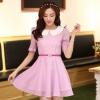 ชุดทำงานแฟชั่นเกาหลี มินิเดรสสวยๆ ชุดประโปรงสั้น คอปก แขนสั้น ผ้า organza สีม่วง ( S M L XL )